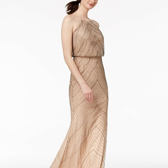f69621209b928 Adrianna Papell Beaded Halter Gown Taupe Pink
